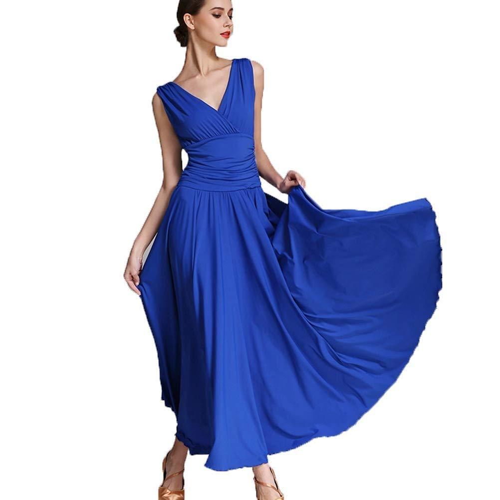 Bleu CX Robes De Pratique De Danse De Salon Standard pour Les Femmes Perforhommece Dancing Costumes Jupe Expansion Robes De Valse Tango Robe De Danse Moderne S