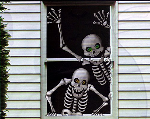 Hilarious Scary Skeletons Window Door Mural Halloween (Best Door Decorations For Halloween)