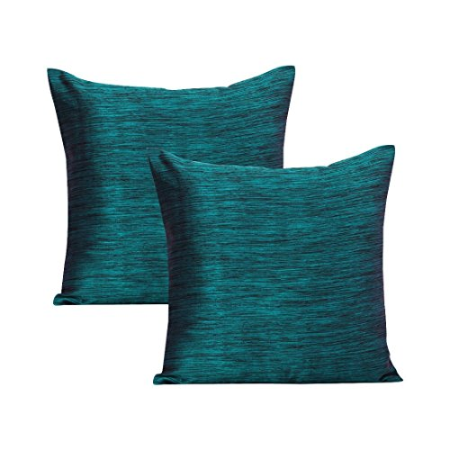 Teal Euro Sham (Set of 2 Covers, Teal + Black, 26x26 inches) - By The White - Teal Petals