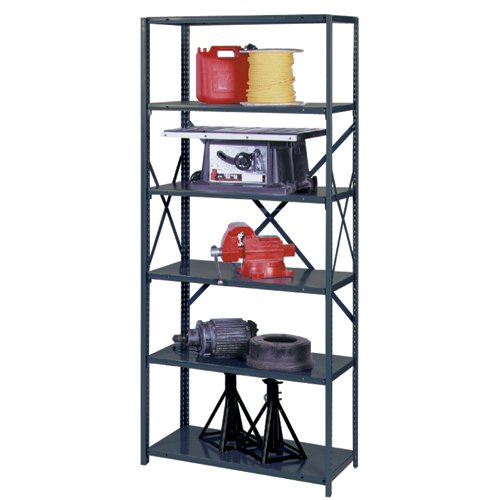 22 Gauge Steel Shelving (Edsal UC5321 UltraCap Open Type Welded Box Shelving with Box Post, Add-On Style, Powder Coated Finish, 6 Shelves, 22 Gauge Steel, 500 lb. Capacity, 48