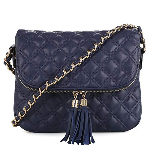 Quilted Pattern Lightweight Medium Fold Over Crossbody Bag with chain strap | Navy