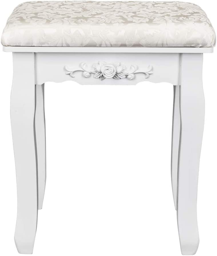 Dressing Stool with Solid Wood Legs and Thick Padded Cushion White Piano and Vanity Seat for Bedroom Bathroom JOYBASE Vanity Stool Vanity Bench