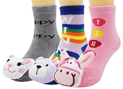 Children Booties Baby Boys Girls Slippers Rattle Toe Animal Socks Sports - Finder Bell