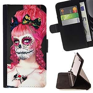- Skull Devil Pattern Sugar Skull Skulls/ Personalizada del estilo del dise???¡Ào de la PU Caso de encargo del cuero del tir????n del soporte d - Cao - For Samsung Galaxy S6 EDGE
