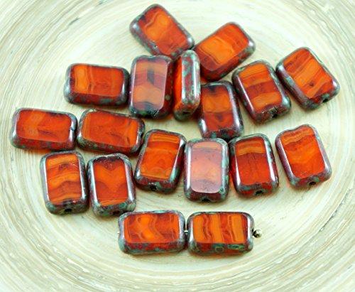 Glass Rectangle Beads (8pcs Picasso Orange Opal Striped Rustic Table Cut Flat Rectangle Czech Glass Beads 12mm x 8mm)