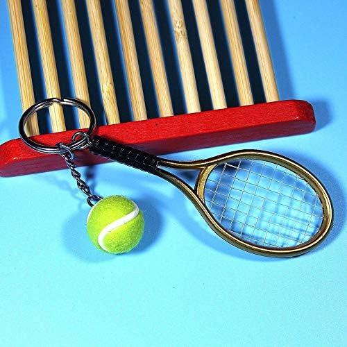 Silverdrew Moda Mini Raqueta de Tenis Colgante Llavero Llavero Llavero buscador de Anillo Accesorios de Holer para Regalos del día del Amante