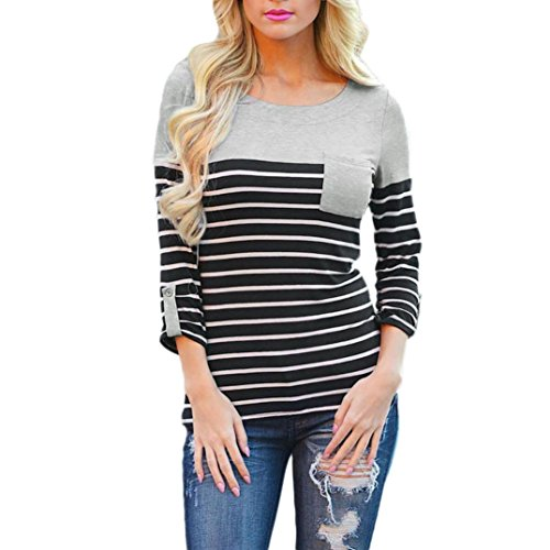 Venture Mesh Vest (Women Tops, LUNIWEI Women's Striped Long Sleeve Loose Blouse Casual Shirt Autumn Tops T-Shirt (XL, Gray))