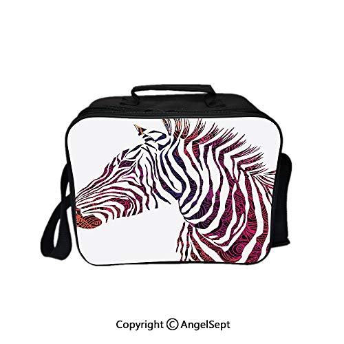 - Lunch Box Carry Case Handbags,Ornamental Zebra Profile Silhouette Artistic Striped Safari Theme Artwork Purple Pink Coral 8.3inch,With Zipper For Adults Kids Teachers Workers
