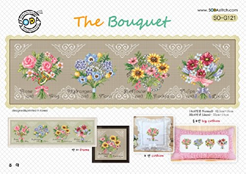SO-G121 The Bouquet, SODA Cross Stitch Pattern leaflet, authentic Korean cross stitch design chart color printed on coated paper ()