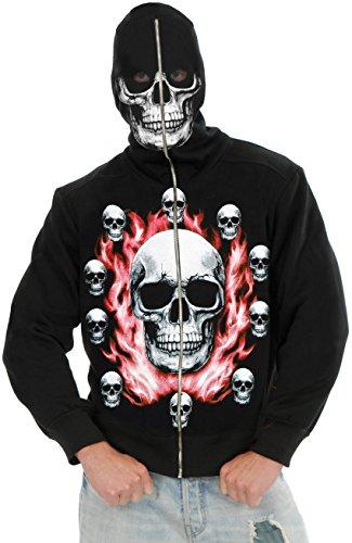 New Men's Teen 40-42 12-Pack of Skulls Costume Hoodie Sweatshirt (Skeleton Hoodie Teen Costume)