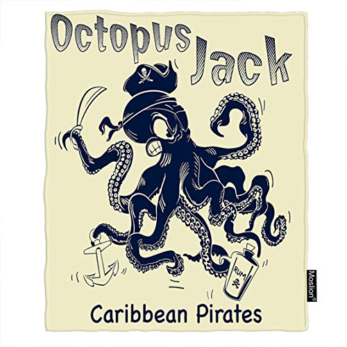 Moslion Octopus Throw Blanket Ocean Angry Octopus Jack with Anchor Caribbean Pirates Hat Wine Blanket Home Decorative Flannel Warm Travel Blankets 30x40 Inch for Pet Dog Cat Black Beige