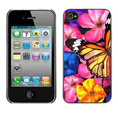 TopCaseStore / caoutchouc Hard Case Housse de protection la Peau - Butterfly Art Garden Flowers Blossoms Nature - Apple iPhone 4 / 4S