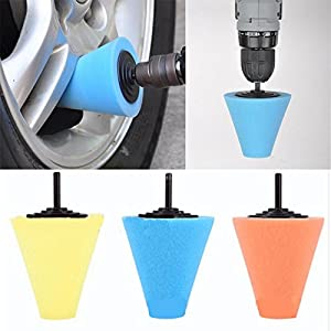 Polisher Buffer Sponge, FTXJ 6MM Cone Foam Buffing Polishing Waxing for Car Auto Wheel Hub