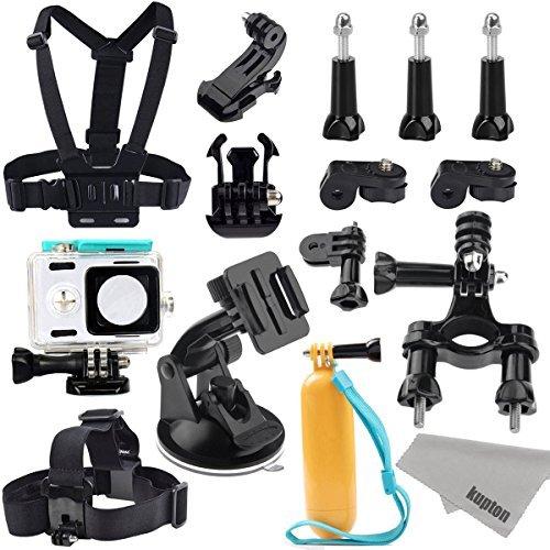 Kupton Accessories for Xiaomi Action Camera Xiaoyi Waterproof Housing Case + Head Strap Mount + Chest Harness + Car Suction Cup+ Bike Handlebar Mount + Floating Hand Grip Sport Camera Starter Kit [並行輸入品]   B07554LDD8