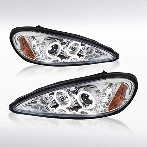 (Autozensation For Pontiac Grand AM Chrome LED Halo Projector Headlights)