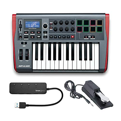Novation Impulse 25 Controller Keyboard Bundle with Sustain Pedal and Knox Gear 4-Port USB 3.0 Hub (3 Items)