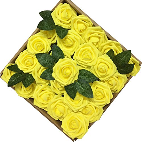 Jing-Rise Wedding Bouquets Rose 50PCS Artificial Flowers Foam Roses With Stem for DIY Bridal Bridesmaids Bouquets Wedding Centerpieces Baby Shower Home Hotel Birthday Party Floral Decoration (Yellow)