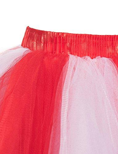 Tutu Rouge multicouches annes des sous Crinoline 50 jupes jupe Bubble courtes Femmes Ballet blanc Petticoat BeiQianE jupes Vintage w6Aaq