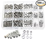 VAPKER 550 Pcs M4 M5 M6 Pan Head Stainless Steel Screw Bolts Nuts Lock and Flat Gasket Washers Screws Assortment Kit