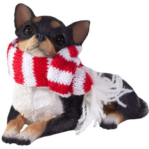 Sandicast Lying Tri Chihuahua with Red and White Scarf Christmas - Christmas Decorated Tree Figurine