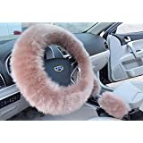 Autumn & Winter girl car accessories Warm fur steering wheel cover Handbrake Cover And Gear Shift Cover 3Pcs/Set (bean paste)