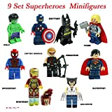 BAYSHORELLP Super Heroes Figures, 9 Set Super Heroes Marvel & DC Avengers Mini Figures include Batman, Spiderman, Ironman, Thor, Superman, Wolverine, Captain America, Hawkeye, and The Hulk. Mini Figures Toys