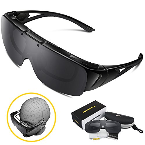 Torege Flip Up Fit Over Sunglasses with Side Shields Polarized Lenses for Driving Fishing Hunting T616 (Black&Gray - Glasses Over Sunglasses Amazon