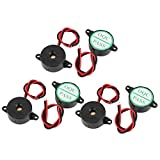 Aexit DC 3-24V Security & Surveillance Wire Leads Industrial Audio Piezo Electronic Alarm Buzzer Horns & Sirens Black 6pcs