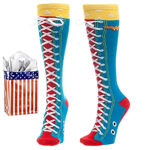 Wonder Woman Faux Lace Junior Womens' Knee High Socks & Reusable Gift Bag-2 Piece - Socks Woman Over Knee Wonder The