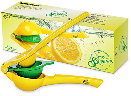 Teja's 2 in 1 lemon lime squeezer Manual Premium Quality Kitchen Tool Citrus  Press Juicer -Yellow by Teja World