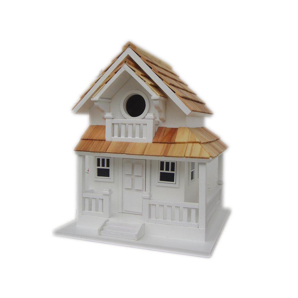 Home Bazaar Hand-made Backyard Bird Cottage White Bird House - Bird Friendly - Home Decor