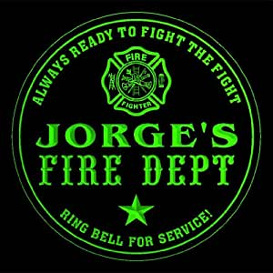 4x ccqy0173-g JORGE'S Fire Fighter Dept Firemen Bar Beer 3D Engraved Drink Coasters