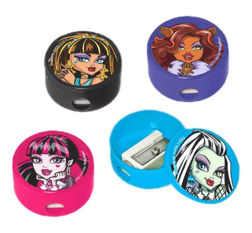 Freaky Fab Monster High Birthday Party Round Pencil Sharpener Favour (1 Piece), Multi Color, 1 1/2