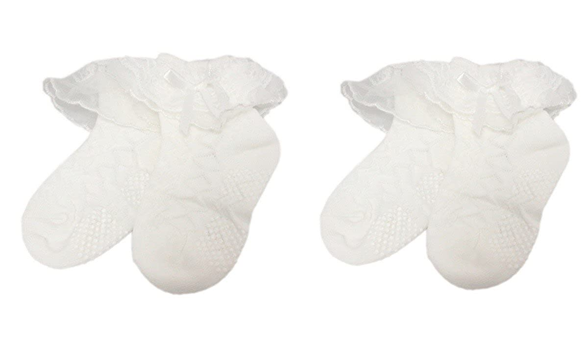 2 Pairs of Girls Cream White Patterned Lace Summer Frilly Ankle Socks