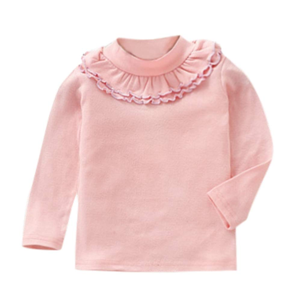 Vinjeely Toddler Kids Girls Tops Solid Color Ruffles Long Sleeve Shirt Clothes