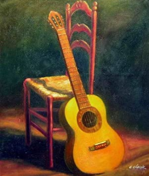 Spanish Guitar Oil Painting On Canvas Hand Made Quality Replica 20quot X 24quot