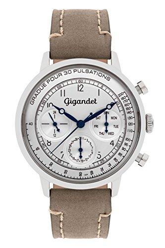 Gigandet Men's Quartz Watch Pulsation Chronograph Analog Leather Strap Gray Silver G45-002