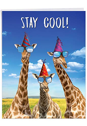(Cool Giraffes - Birthday From All of Us Card with Envelope (Letterhead 8.5 x 11 Inch) - Showing a funny trio of long-necked exotic animals sending out some shade J6335BDG-US)