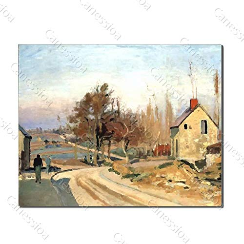 Canessioa Art Oil Painting Village Abstract Artwork Two People Walk On The Village Road Home Decor Wall Decorations for Bedroom Bathroom Living Room Office Corridor Staircase(36x24inch Unframed)