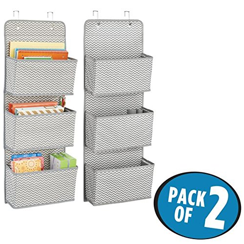 mDesign Soft Fabric Over the Door Hanging Storage Organizer with 3 Large Cascading Pockets, for Office Supplies, Planners, File Folders, Notebooks - Zig Zag Chevron Pattern, Pack of 2, ()