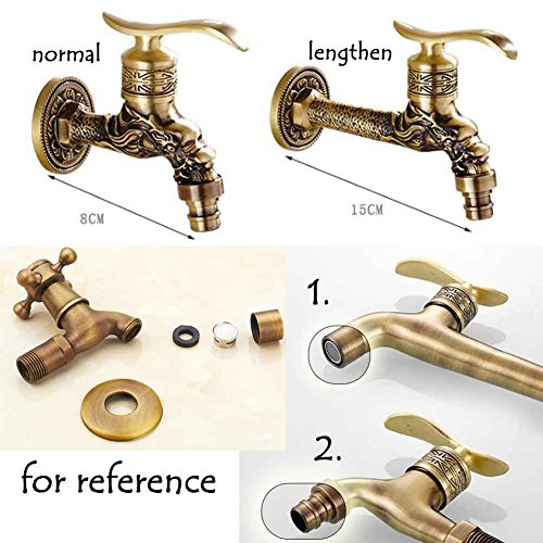 Panda Superstore [Dragon] Lengthen Brass Antique Faucet Mop Pool Faucet Wall Faucet Kitchen/Garden