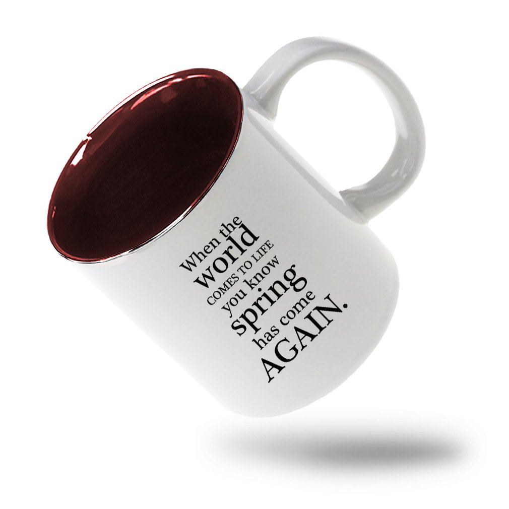 Style In Print ''When The World Comes To Life You Know Spà'' Funny Relax Ceramic Inner Color Mug White/Red