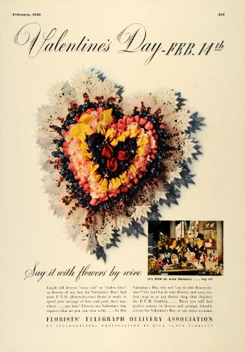 1938 Ad Florists Telegraph Delivery Ftd Valentines Day   Original Print Ad