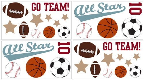 Amazon.com: Sweet Jojo Designs 4 Piece All Star Sports Wall Decal Stickers:  Baby Part 86