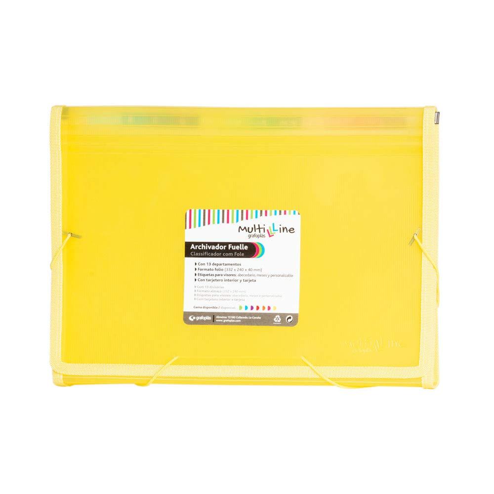 Grafoplás 02963060- Carpeta separadora con fuelle. tamaño folio, color amarillo