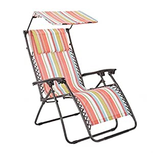 Brylanehome Zero Gravity Chair With Pillow And Canopy (Multi Stripe,0)