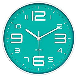 45Min 10-Inch 3D Digital Dial Face Modern Wall Clock, Silent Non-Ticking Round Home Decor Wall Clock with Arabic Numerals, 5 Colors(Cyan)
