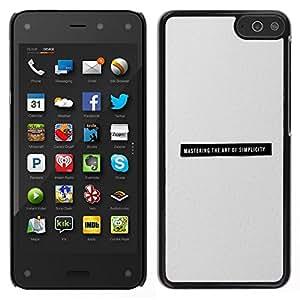 KLONGSHOP // Cubierta de piel con cierre a presión Shell trasero duro de goma Protección Caso - La simplicidad minimalista Negro Gris Texto Imprimir - Amazon Fire Phone //