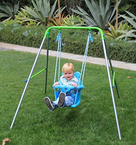 BestValue Go Folding Toddler Swing Indoor/Outdoor Swing Set with Safety Harness