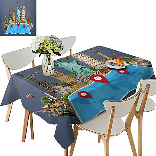 (UHOO2018 Square/Rectangle Polyesters Tablecloth Famous Monuments of The World grouped Together on a map with pin icon Wedding Party,50)